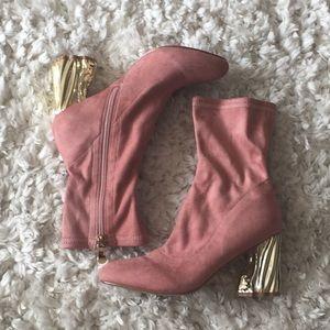 Pink Bootie with Eclectic Golden Heel